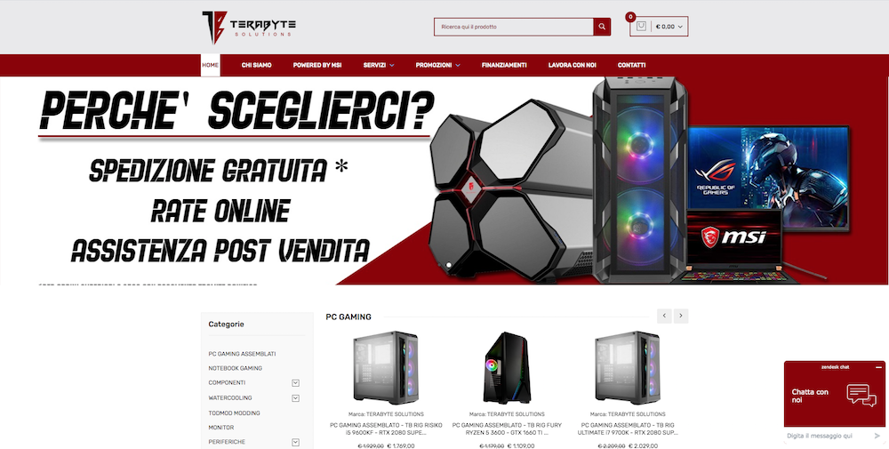 Sito eCommerce Torino - Gaming pc Terabyte Solutions