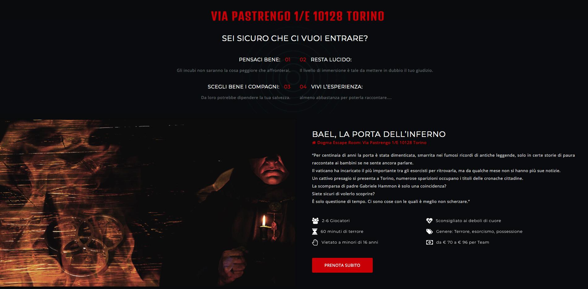 Creazione Sito Web per Escape Room a Torino