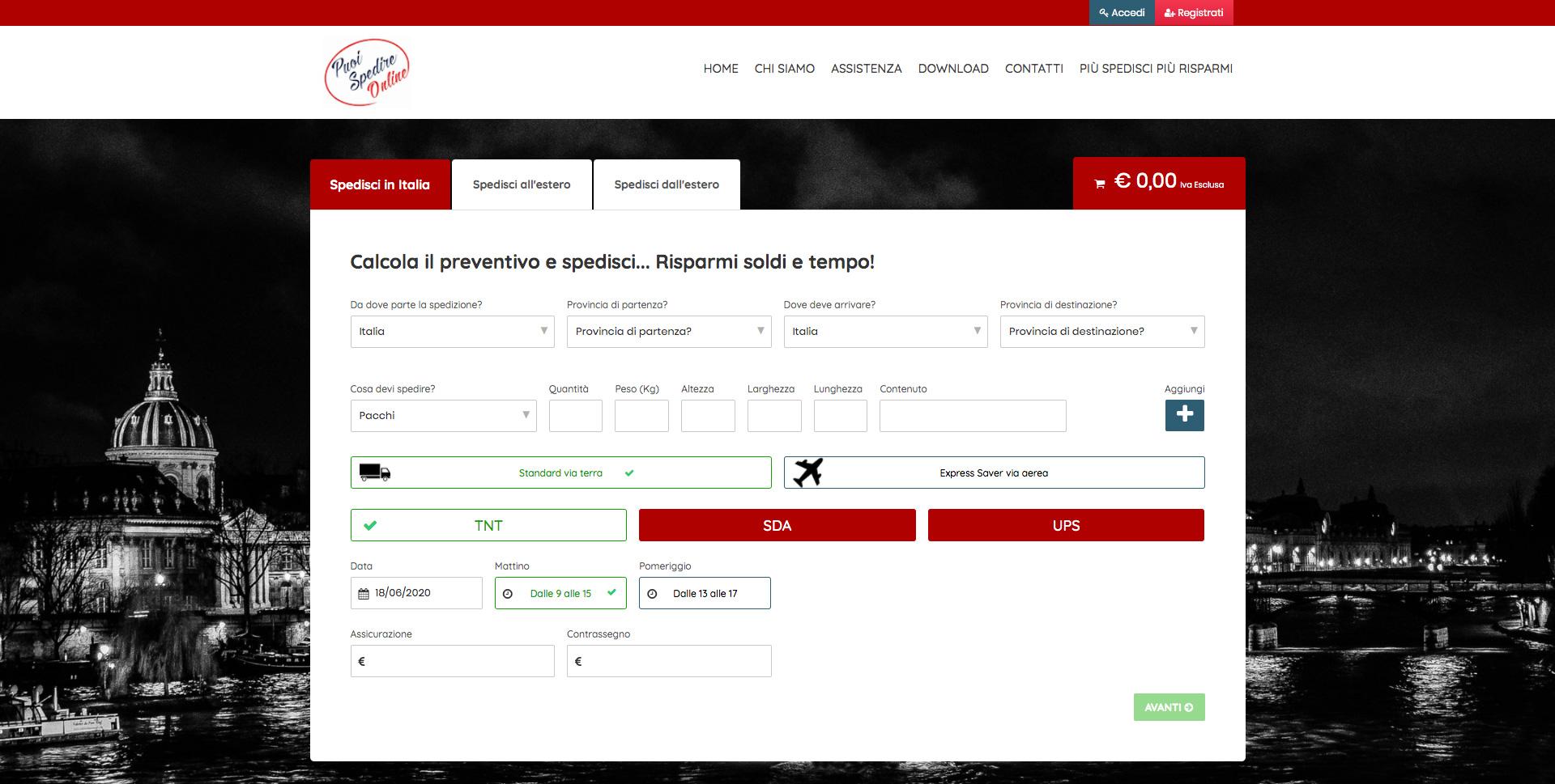Siti Web Torino per Portale di Spedizioni Online - Puoi Spedire Online