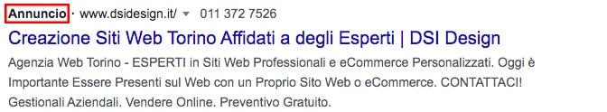 Annuncio Google ADS - DSI Design