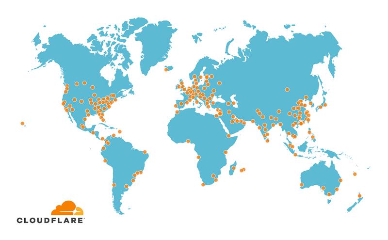 Mappa Punti CDN CloudFlare nel Mondo